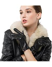 Las mujeres de piel de cordero de cuero italianoNappaglo Guantes invierno cálido forro polar guantes touchscreen simple largo