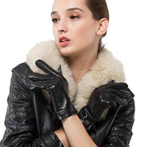 Nappaglo Damen Italienisches Lammfell Leder Handschuhe Touchscreen Winter Warm Langes Fleecefutter Handschuhe (L (Umfang der Handfläche:19.0-20.3cm), Schwarz(Touchscreen)) -