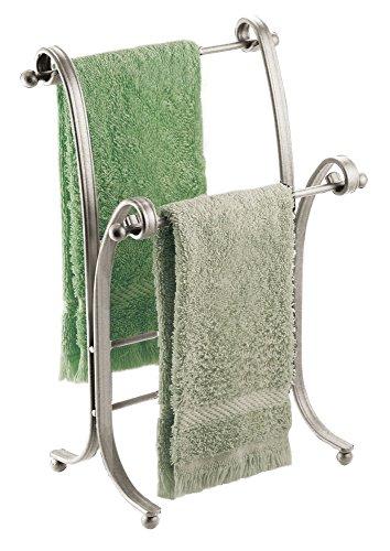 mDesign Toallero de pie – Práctico colgador para dos toallas pequeñas, ideal para la mesada del baño – Moderno secatoallas para colocar sin taladrar ni agujerear – Inoxidable – Color: plateado