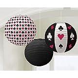 3 farolillo decoración estilo casa de juego 24cm linternas decorativas fiestas temáticas Las Vegas Farolillo Faroles