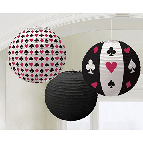 Amakando Lampignions 3 Casino Lampions 24 cm Place Your Bets Wabenball Deko Party Laternen Las Vegas Papierlampions Hängedeko Poker Event Dekoration Papierlaternen