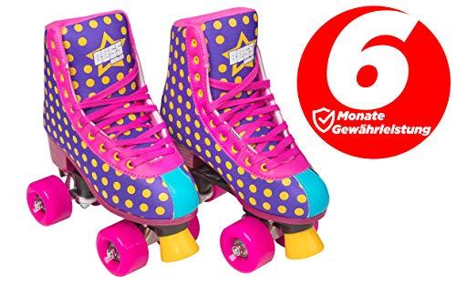Bliss Rollerskates Mädchen Rollschuhe Damen - Indoor Outdoor Roller Skates Größe 31-42 Rollschuh Rockstar Edition(lila, 37)