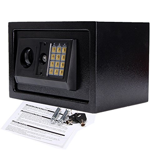 SAFETYON Safe Tresor Möbeltresor mit Elektronikschloss und schlüssel feuerfest wasserdicht, Wandtresor Zahlenschloss für Homesafe 30 X 20 X 20cm schwarz …