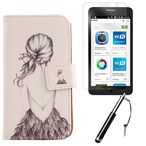 "Lankashi 3in1 Set Lovely Design PU Cuir Coque Case Pour Alcatel One Touch Pop Star 5070D 4G 5"" Housse Etui Cover Flip Verre Trempé Vitre de Protection écran Rétractable Mini Tactiles Capacitif Stylus  Back Girl"