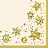 Papstar 8133550tovaglioli 3–Ply 1/4Fold con solo stelle, 40x 40cm, colore: crema