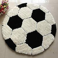 سجادة للأطفال دائرية سجادة أرضية كرسي حصيرة لغرف نوم الأطفال والأطفال حديث Black Soccer