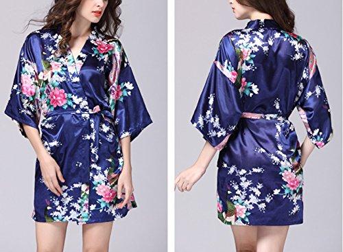 Lannorn Damen 12 Farben Morgenmantel Kimono aus Satin Seide Robes Kurz Pfau und Blüten Nachtwäsche Bademäntel S-XL Navy Blau