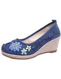 Xmansky Frauen Schuhe Sommer Vintage Ethnischen Stil Bestickt Rib Bottom Casual Slip on Sandalen