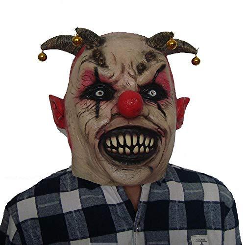 Erwachsene,Lustige Kleid Thriller Kopf Stellen Nasenbeinbruch Glocke Clown Teufel Maske ()