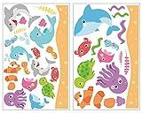 plot4u 34-Teiliges Lustiges Fisch Wandtattoo Set Wal Hai Wandsticker Kinderzimmer in 5 Größen (2x16x26cm Mehrfarbig)