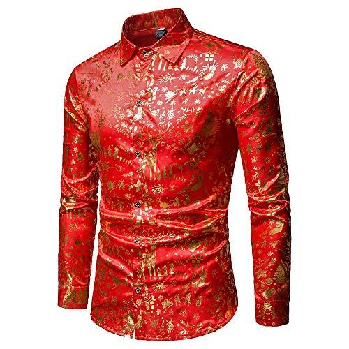 (Weihnachten Herren Shirt,Sunday Herren Weihnachten Hemd Pulli Langarm T-Shirt Weihnachten Herren Pullover Party Kostüm Kleidung Christmas Outfit HW-25)