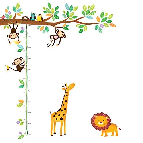 Decowall DW-1402 3 Affen Zweig Baum Höhentabelle Waldtiere Tiere Wandtattoo Wandsticker Wandaufkleber Wanddeko für Wohnzimmer Schlafzimmer Kinderzimmer -