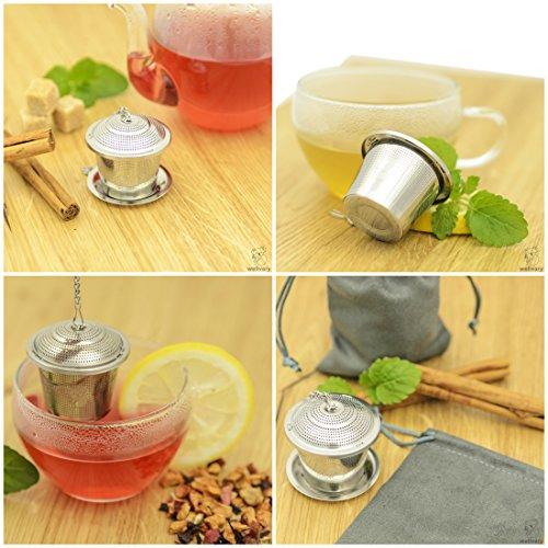Premium Edelstahl Teeei | hochwertiges Teesieb & Teefilter | Teekugel für losen Tee | feinster Teegenuss im edlem Veloursbeutel (grau) von wellvary - 2er Set - 5