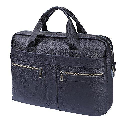Herren Aktentasche Echt Leder,Unives Ledertasche 14 Zoll Laptoptasche Businesstasche Vintage Henkeltasche Umhängetasche Schultertasche, Schwarz (Arzt Schwarz Tasche)
