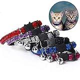OneBarleycorn - Juego de 6 collares para gatos con campana reflectante y hebilla de seguridad, ajustable de 18 a 27 cm
