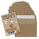 100 Stück - Vintage-Umschläge DIN C6 Kraftpapier 100 g/m² braun Recycling Brief-Umschläge Haftklebung - NEUSER PAPIER