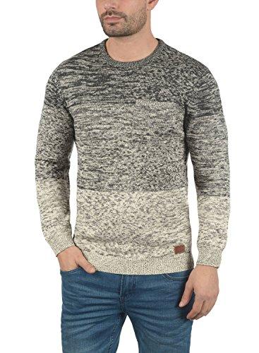 BLEND Garry Herren Strickpullover Feinstrick-Pullover mit Rundhals-Ausschnitt aus 100% Baumwolle Meliert Pewter Mix (70817)