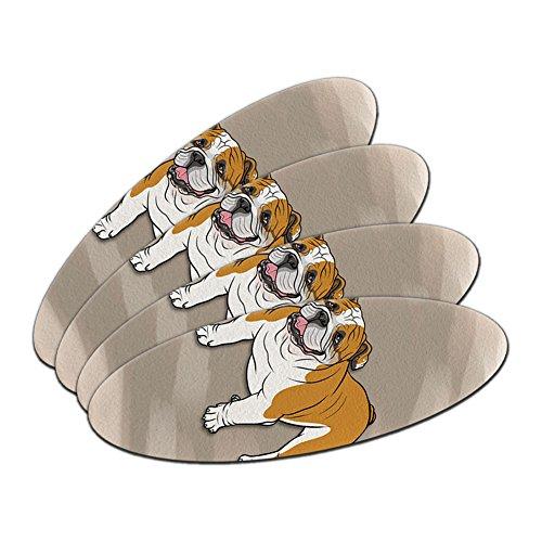 English Bulldog–Hunde doppelseitig oval Nagelfeile Emery Board Set 4Stück