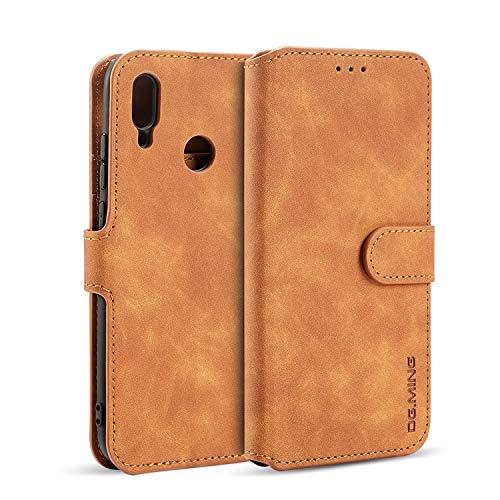 zanasta Echt Ledertasche kompatibel mit Huawei P Smart 2019 Hülle Premium Leder Tasche mit Kartenfächern, Schutzhülle Braun