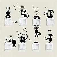 Lovely Cat Light Switch Phone Pegatinas De Pared Para Habitaciones De NiñOs Diy DecoracióN Del Hogar Animales De Dibujos Animados Tatuajes De Pared Pvc Mural Art