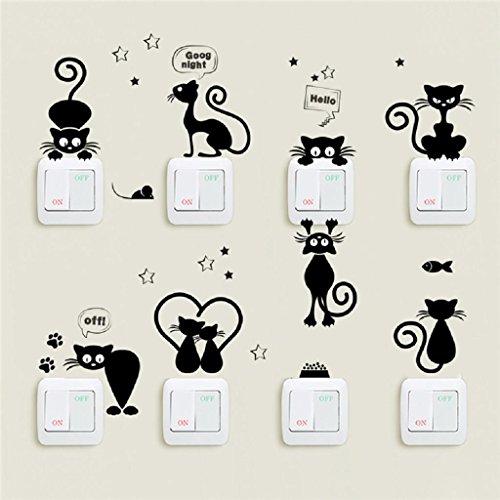 FLYFISH Schöne Katze Lichtschalter Telefon Wandaufkleber Für Kinderzimmer DIY Dekoration Cartoon Tiere Wandtattoos PVC Wandbild Kunst
