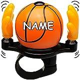 alles-meine GmbH Fahrradklingel -  Basketball  - inkl. Name - mit coolem Effekt - Hände Schlagen zum Klingeln auf den Basketball - stabiles Metall - UNIVERSAL Klingel für d..