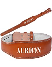 """AURION Power Lifting Belt Medium -34"""" - 36"""" Leather Weight Lifting Belt Body Fitness Gym Back Support"""