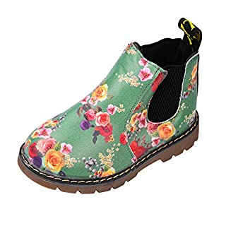 Anglewolf Children Fashion Boys Girls Martin Sneaker Boots Autumn Winter Warm Thick Baby Kids Unisex Casual Floral Printing Zipper Up Shoes Leather Snow Shoes(Green,UK:6.5)