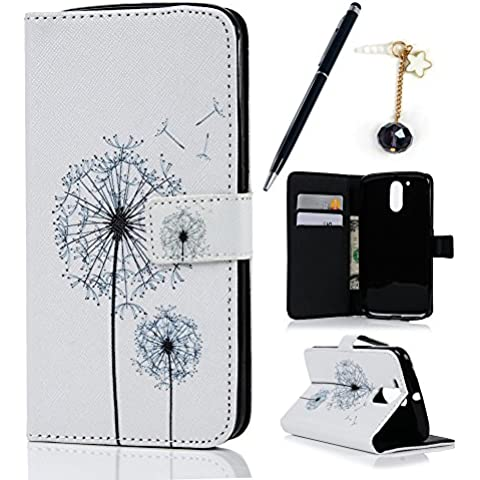 MOTO G4 / G4 Plus Custodia Pelle Folio Wallet - MAXFE.CO Morbido Libro PU Leather Magnetico Flip Stand Case Cover Protettiva Portafoglio,ID Slot per Scheda,Chiusura Magnetica,dente di leone - Coccodrillo Dente
