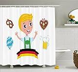 Abakuhaus Duschvorhang, Deutscher Blonder Junge aus Bayern mit Lebkuchen Bier Bretzel Deutscher Fahne Stereotypen Druck, Wasser und Blickdicht aus Stoff mit 12 Ringen Schimmel Resistent, 175 X 200 cm