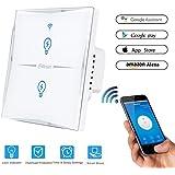 Wifi Interruptor Inteligente 2 Gang, Wireless Echo Interruptor remoto de luz de pared con Alexa / Google Home, Panel de vidrio sensible al tacto, Sin centro, Función de sincronización