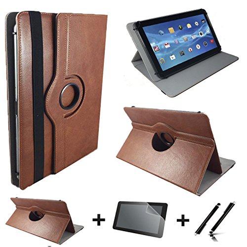 3in1 Starter Set für Lenovo ideapad MIIX 310-10ICR Echt Leder Tablet Hülle + Schutzfolie + Touch Pen - 10.1 Zoll Leder Braun 360 3in1