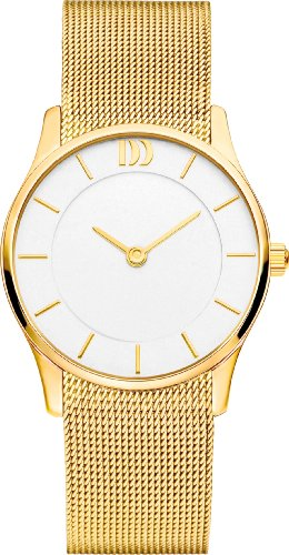 Danish Design Women's Quartz Watch with White Dial Analogue Display and Gold Stainless Steel Gold Plated Bracelet DZ120311