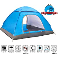 Alfie Pop Up Tent, Large 3-4 Person Pop Up Tent, Family Camping Tents, Backpack Tents, Portable Automatic Tents UV Protection for Outdoor Camping Beach Garden Family, Ventilated and Durable. 200x200x135cm (Blue)