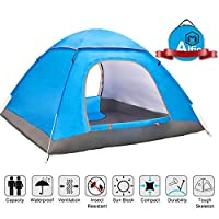 tenty.co.uk Alfie Pop Up Tent, Large 3-4 Person Pop Up Tent, Portable Automatic Tents UV Protection for Outdoor Camping Beach Garden Family, Ventilated and Durable