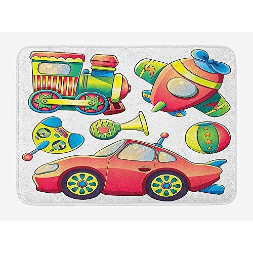 Ruan-Shop Kinderbadematte, lustiges Transportspielzeug mit Eisenbahnwaggon-Flugzeug-Hornball-Selbstreifen-Karikatur-Entwurfs-Fußmatten