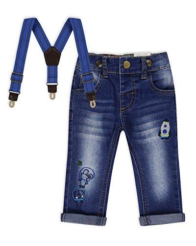The Essential One - Baby Kinder Jungen Gestickte Jeans Hose mit Hosenträger - Blau - 12-18m - EOT487 (Fashion Jean Gestickte)