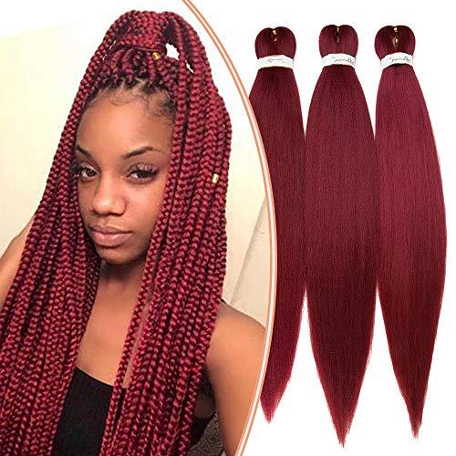 Extension capelli per treccine donna bambina treccia finta trecce lunghe 65cm 3 ciocche braids hair extensions sintetiche fibre morbidi 270g ricci - rosso borgogna