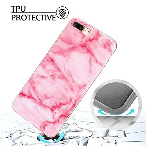 Coque iPhone 7 Plus , Coque iPhone 8 Plus TPU Etui Silicone Souple Flexible Ultra Mince Protection Case Cover Mode Dessin Marbre Motif E-Lush Enveloppe Coque Pour Apple iPhone 7 Plus / iPhone 8 Plus ( Rose claire