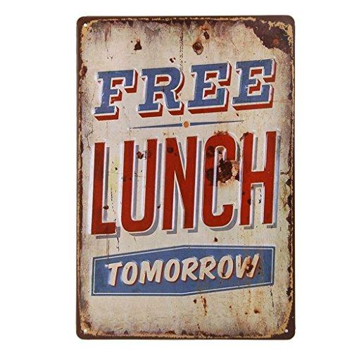 Ndier Vintage Plate Poster Metall Free Lunch Wand für Café, Bar, Restaurant, Club, Haus 20 x 30 cm -