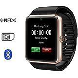 X-REEGA GT08 Bluetooth Smartwatch mit Kamera SIM-Karten-Slot und NFC-Smart-Health Watch für Android Smartphone und iPhone (Golden Black-Band)