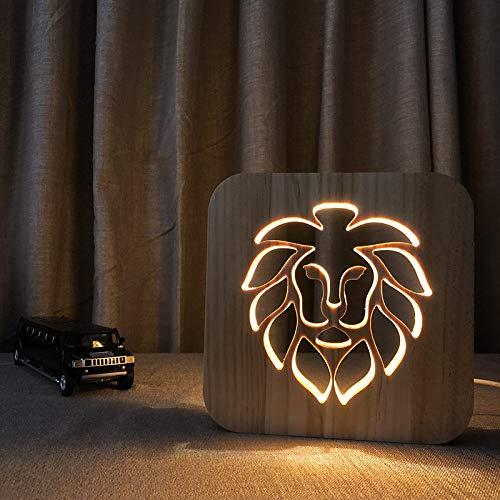 Led Nachtlicht Usb Nachtlicht Löwenkopf Massivholz Tischlampe Kreative Hohl Carving Geschenk Licht 3D Lampe -