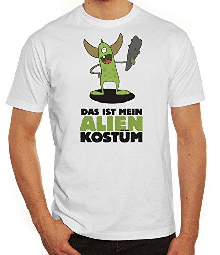 Fasching Karneval Herren T-Shirt mit Das ist mein Alien Kostüm 5 Motiv von ShirtStreet Weiß