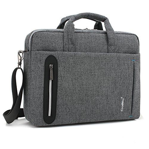 Srotek Laptoptasche 17,3 Zoll (43,9 cm) Schultertaschen Wasserdicht Notebooktasche Aktentasche Tasche Umhängetasche für Laptop & Notebook Tablet Männer Damen,Grau