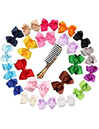 """Ambielly 3"""" cinta arquea con las pinzas de pelo del bebé arquea nudo del arco corbata (20 Costilla con burbujas 3"""")"""