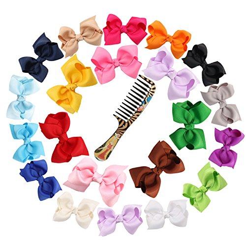 Ambielly Band Bögen mit Krokodilklemmen Ambielly Band Bögen mit Krokodilklemmen Haar-Klipps für Kinder-Kind-Mädchen-Haar-Zusätze(20 Rib mit Blasen 3
