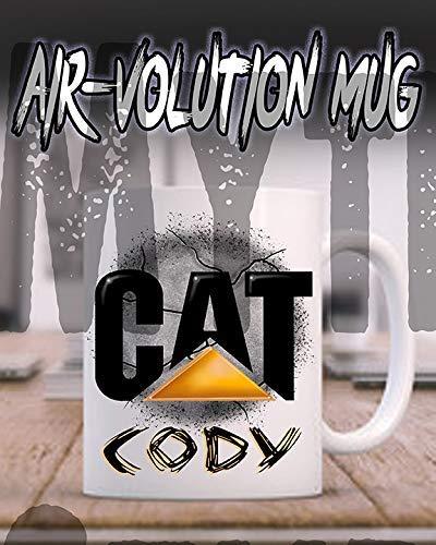 Mythic Airbrush Personalisierte Airbrushed CAT Keramik-Kaffeetasse Weiß