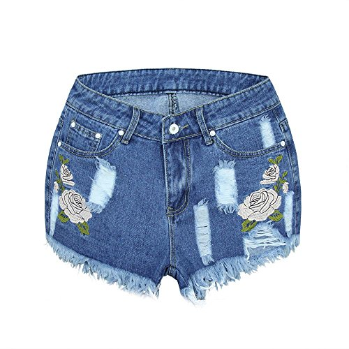 NPRADLA Damen Mini Hot Pants Sommer Floral High Waist Denim Cowboy Short Legging Quaste Frau Lose Jeans Shorts Floral Capri Crop Hose