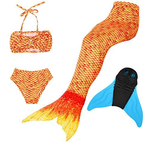 Superstar88 Mädchen Cosplay Kostüm Badebekleidung Meerjungfrau Shell Badeanzug 4pcs Bikini Sets Schöne Flosse ! (Größe 140, Sunset Gold)