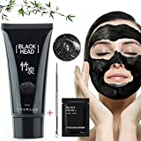 Gesichtsmasken Schwarze, Black Mask Mitesser, Blackhead Remover Gesichtskuren Schwarze Maske Gesichtsmaske Schwarz Peel off Maske Tiefenreinigung Pore Acne Peel Purifying Black Head anti Akne Reißen-Typ Mask Blackhead Killer Mitesser maske Black Mud Mask (60g)+1PC Nose Mask+1PC Akne - Nadel